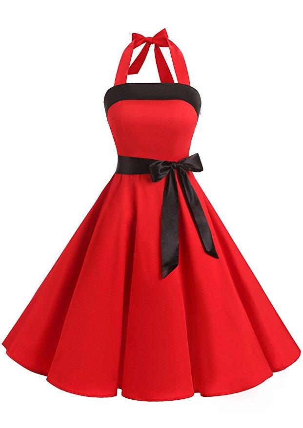 vestido vintage rojo mujer